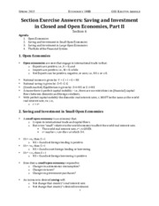 06 Section Exercise Answers- Saving and Investment in Closed and Open Economies, Part II