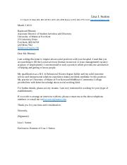 Lisa Sutton Cover Letter and Resume