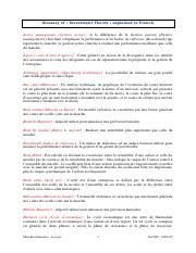 Glossary of Investment Theory explained in French