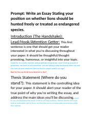 Endangered species topic essay