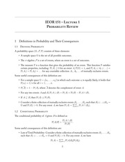 IEOR 151 - Lecture 1, Probability Review - Fall 2013