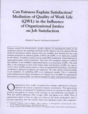 Can Fairness Explain Satisfaction Mediation of Quality of Work Life (QWL) in the Influence of Organi