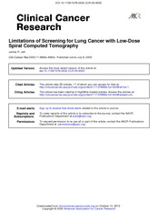 Review_Limitations of Screening Lung Cancer with CT_Jett 2005