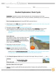 Rock Cycle Gizmo wkst 2 - 1 Name Hour Rock Cycle Gizmo www ...