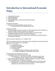 Introduction to International Economic Policy Notes