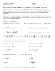 12-13 ALG II Honors REVIEW PACKET CH.1-3.7