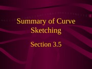 3.5  Summary of Curve Sketching