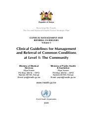 Clinical Guidelines Vol I FINAL