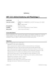 VET 113- Animal Anatomy and Physiology 1