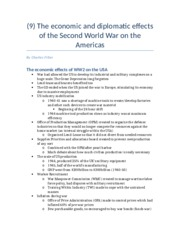 (9) The economic and diplomatic effects of the Second World War on the Americas