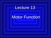 Lecture 13 Motor Function Slides F09