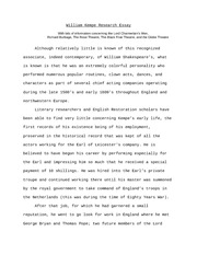 William Kempe Research Essay