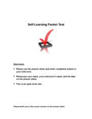 2014 Self Learning Packet TEST