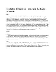 Module 3 Discussion - Selecting the Right Medium.docx