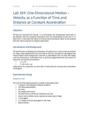 Lab 109- One-Dimensional Motion -- Velocity as a Function of Time and Distance at Constant Accelerat