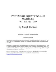 Systems of Equations and Matrices with the TI-89 by Joseph Collison