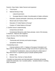 Fascism- Class Notes- Italian Fascism and expansion