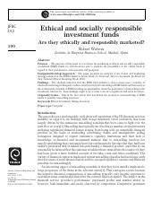 Ethical and socially responsible investment funds are they ethically and responsibly marketed