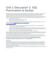 Unit 1 Discussion 2- SQL Punctuation & Syntax