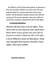 The Effects of the Cuban Revolution on Women.docx