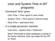User and System Time in MT programs