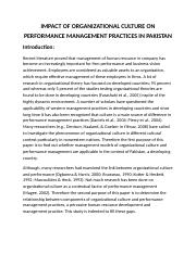 IMPACT OF ORGANIZATIONAL CULTURE ON PERFORMANCE MANAGEMENT PRACTICES IN PAKISTAN.docx