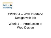CIS363A - Web Interface with lab Week 1
