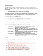 Worksheets Dangling Modifier Worksheet here are more examples of dangling modifiers and ways they can be corrected