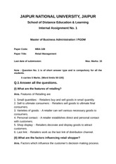MBA-108 Retail Management