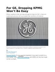 GE explore dropping KPMG as auditor after 109 years.docx