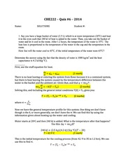 CHE 222 Spring 2014 Quiz 6 Solutions