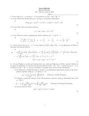 Midterm Exam 2 Solution Spring 2001 on Ordinary Differential Equations