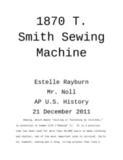 Sewing Machine Research paper