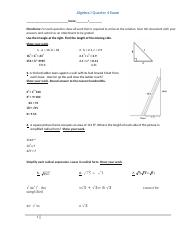 Algebra I Quarter 4 Exam tld992016.doc
