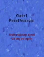 Chap. 4 Personal Relationships
