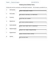 Medical Terminology Assignment 2