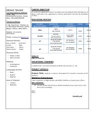 RESUME OF MOHD TAUSIF