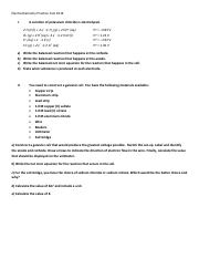 Electrochemistry Practice Test with answers