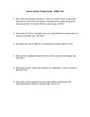 Carter Gladiator Study Guide