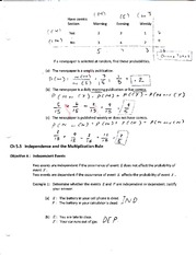 Chapter 5.3 Independence and the Multiplication Rule