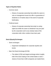 Types of Equities Notes