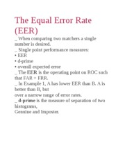 The Equal Error Rate