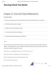 Chapter 21_ Oral and Topical Medications _ Nursing School Test Banks
