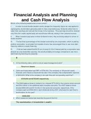 Financial Analysis and Planning and  Cash Flow Analysis