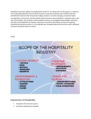 Hospitality means the activity of providing food.docx