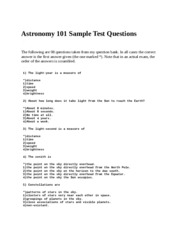 Astronomy 101 Sample Test Questions