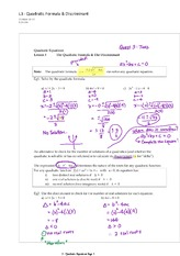 Quadratic Formula Discriminant