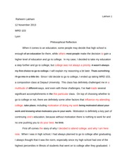 Philosophical Reflection Peer Edit 2