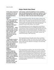 """major works data sheet 3 essay Sethe – mother - kills her daughter so she would not be a enslaved beloved - """"reincarnated daughter"""" """"sethe's dead mother"""" - symbol of."""
