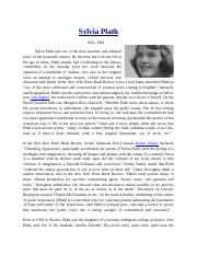 literature analysis Silvia Plath Biography